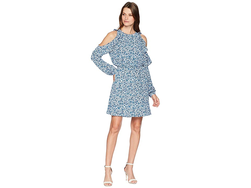 MICHAEL Michael Kors Vine Cold Shoulder Dress (White/Radiant Blue) Women