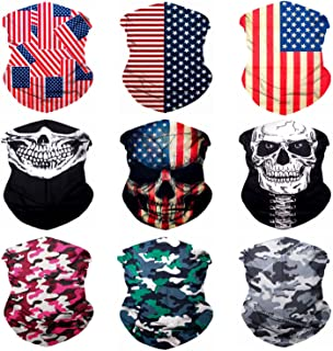 Sojourner 9PCS Seamless Bandanas Face Mask Headband Scarf Headwrap Neckwarmer & More – 12-in-1 Multifunctional for Music F...