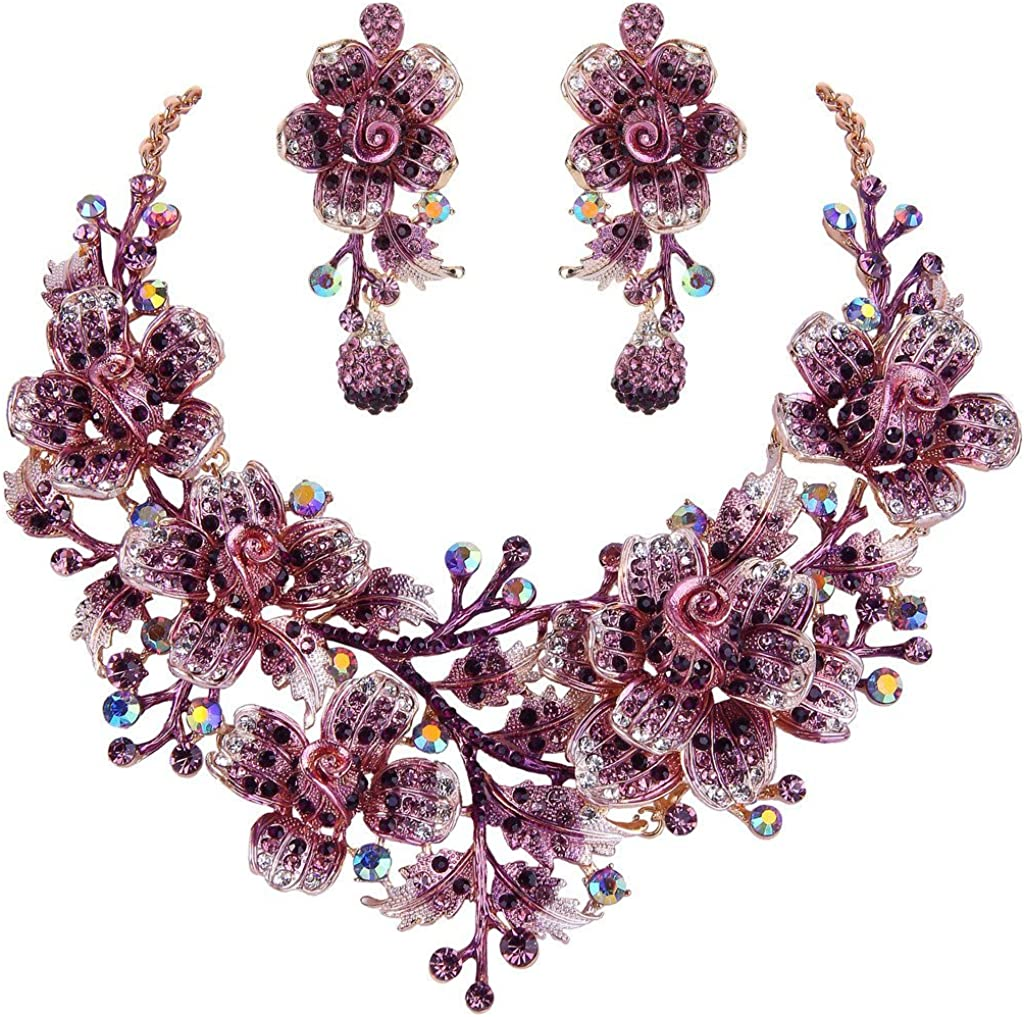 EVER FAITH Women's Crystal Elegant Flower Leaf Bridal Necklace Earrings Set