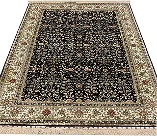 YILONG CARPET Oriental Traditional Area Rug Handmade Persian Silk Carpet 4.5' x 6.5' (Hereke Blue Vine)