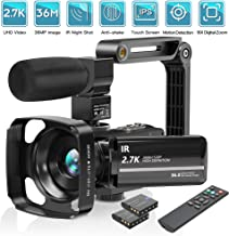 Video Camera Camcorder 2.7K UHD 30FPS 36MP Vlogging Cameras for YouTube IR Night Vision 16X Digital Zoom Camcorder with Microphone 3.0 Inch 270° Rotatable Screen Remote Control 2 Batteries
