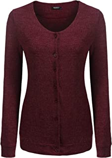 Beyove Women's Classic Button Front V-Neck Long Sleeve Knit Cardigan Wine Red Large