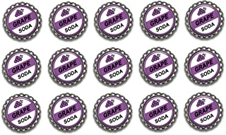 15 GRAPE SODA - UP MOVIE INSPIRED Flat Botlte Caps for hair bow centers Silver Color AMZN78 (No Necklaces included)