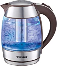 Todo 1.8L Glass Cordless Kettle Electric Blue Led Light Infuser Filter 360 Jug Coffee