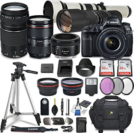 $4029 Get Canon EOS 5D Mark IV DSLR Camera w/ 7 Lens Bundle including EF 24-105mm f/4L IS II USM + 2.2x Telephoto & 0.43x Aux Wide Angle Lens + 2Pcs 32GB SD + Accessories with Premium Commander Kit (32 Items)