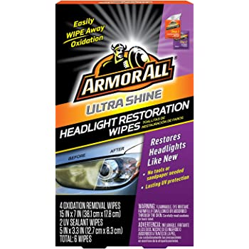 Armor All Car Headlights Cleaner Wipes - Cleaning for Cars & Truck & Motorcycle, Ultra Shine, 6 Count, 18514
