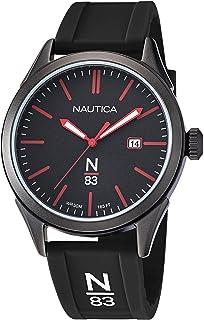 Nautica Men's Quartz Silicone Strap, Black, 20 Casual Watch (Model: NAPHBF118)