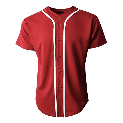 cf51c90a0 Mens Baseball Team Jersey Button Down T Shirts Plain Short Sleeve Top