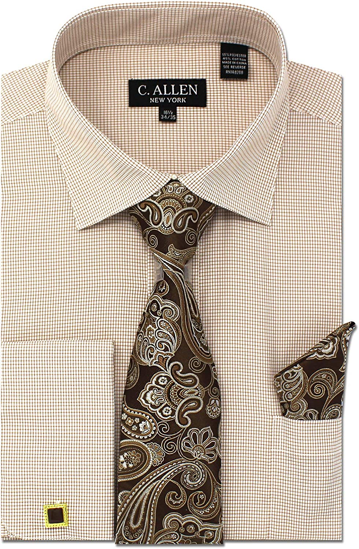 Mens Classic Cotton Slim Fit Dress Shirt Tie Hanky Gift Set Smart Casual Work
