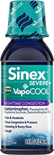 Vicks Sinex Severe VapoCOOL Nighttime Congestion, Sinus Pressure Relief, 8 Fluid Ounce