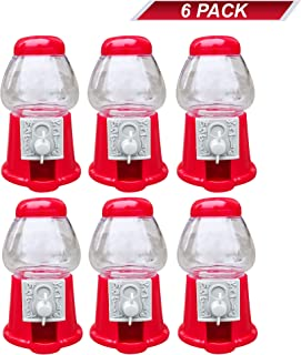 """Hammont Premium Pack of 6 Mini 5"""" Plastic Gumball Machines–Small Set of Red Bubble Gum Dispenser for Boys & Girls –Novelty Fun Birthday Party Favor Idea Fits .5"""" Inch Small Gumballs (14mm)"""