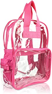 Clear Backpack Bags Smooth Plastic (Hot Pink)