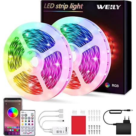 Ruban LED 10M Intelligent Bluetooth,WEILY10M Led Ruban Intelligent Music Sync Bande de lumière LED RGB à changement de couleur étanche[Classe énergétique A+++]