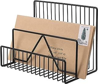 MyGift 3-Slot Modern Black Metal Wire Mail Sorter