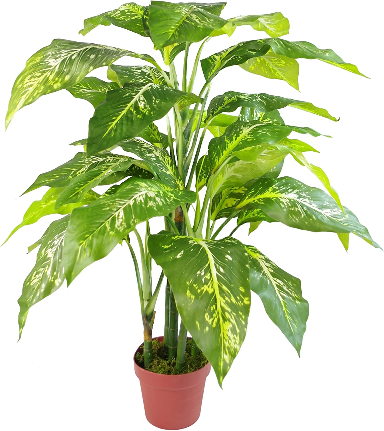 Leaf 100cm Large Fox's Aglaonema (Spotted Evergreen) Tree Artificial Plant, with Plain Plastic Pot