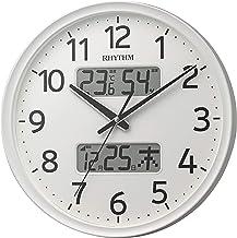 リズム(RHYTHM) 掛け時計 白 Φ35x5.3cm 電波 アナログ 連続秒針 温度 湿度 カレンダー 8FYA03SR03