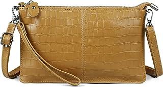 Befen Leder-Clutch, börse, kleine Crossbody-Tasche für Damen, (Goldenrod Krokodil), Small