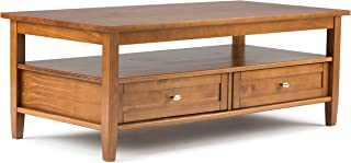 Simpli Home AXWSH001 Warm Shaker Solid Wood 48 inch Wide Rectangle Rustic Coffee Table in Honey Brown