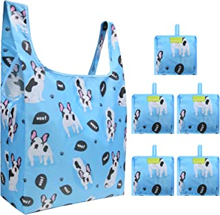 Blue Grocery Reusable Bags Foldable 5 Pack Dog Pattern Reusable Gift Bags Large Capacity Can Hold 50Lbs Sturdy Ripstop Nylon Bags with Attached Pouch Folding Bags for Shopping, Groceries