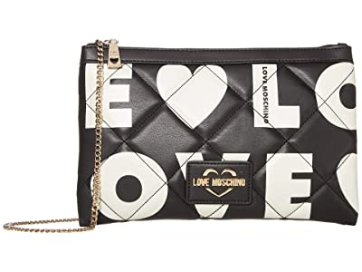 LOVE Moschino Love Is All Over Clutch/Shoulder Bag (Fantasy Print Black/White) Handbags