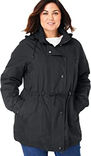 Plus Size Women's Plus Size Fleece-Lined Taslon Anorak