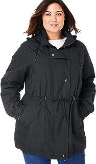 Woman Within Plus Size Women's Plus Size Fleece-Lined Taslon Anorak