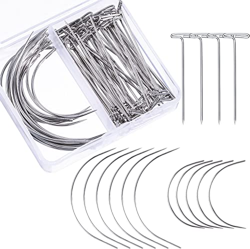 Bememo 70 Pieces Wig Making Pins Needles Set, Wig T Pins and C Curved Needles Hair Weave Needles for Wig Making, Bloc...