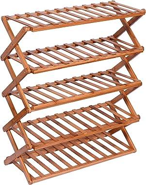 Livzing 5-Layer Collapsible Shoe Rack - Bamboo Multipurpose - Folding Storage Shelf - Installation Free Organizer - Portable
