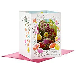 Hallmark Paper Wonder Displayable Pop Up Birthday Card for Her (Beautiful Butterflies and Flowers)