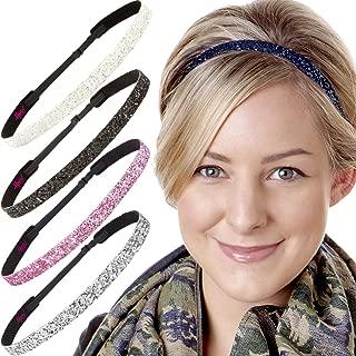 Hipsy 5pk Women's Adjustable NO SLIP Skinny Bling Glitter Headband Multi Gift Pack (Silver/Navy/L. Pink/Black/White)