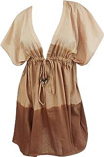 LA LEELA Strand und braun Kaftan Frauen Robe Hand tie dye Badeanzug Baumwolle Coverup Braun_K983 DE Größe: 42 L - 52 4XL