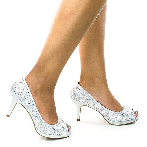 3602ae0ca08 City Classified Frank Comfort Soft Foam Peep Toe Glitter Rhinestones
