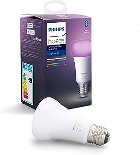 Philips Hue Standaard Lamp 1-Pack - E27 - Duurzame LED Verlichting - Wit en Gekleurd Licht - Dimbaar - Verbind met Bluetoo...