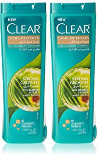 Clear Anti-Dandruff Shampoo Strong Growth, 400ml with Assorted Clear Shampoo 350ml FREE