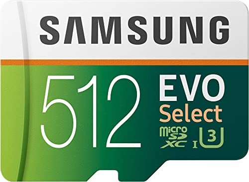 Samsung EVO Select Carte mémoire microSDXC UHS-I U3 100 Mo/s Full HD et 4K UHD avec adaptateur SD (MB-ME512HA/EU)