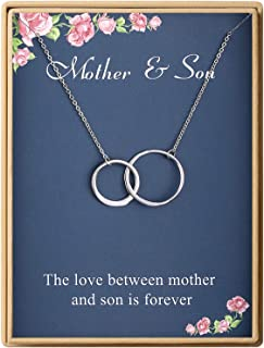 Birthday Gifts Mom Delicate Two Interlocking Infinity Double Circles Sterling Silver Mother Son Necklace for Women Mother`s Day Gifts
