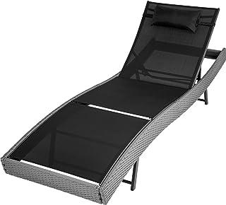 TecTake Tumbona chaise longue de poli ratán tumbona de jardín silla de terraza - disponible en diferentes colores - (Gris   no. 402055)