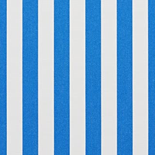 B485 Blue Striped Indoor Outdoor Marine Scotchgard Upholstery Fabric by The Yard