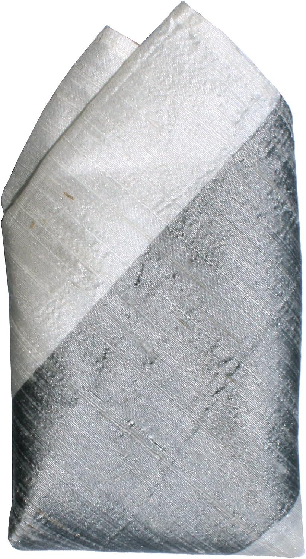 Broad Grey Ivory Stripes Dupioni Silk Pocket Square by ROYAL SILK