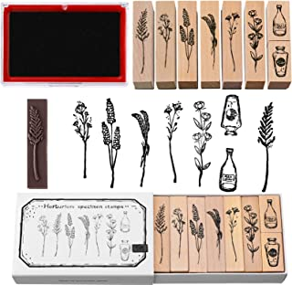 8 Pieces Vintage Wooden Rubber Stamps, Plant and Flower Decorative Wooden Rubber Stamp Set, Wood Mounted Rubber Stamps wit...