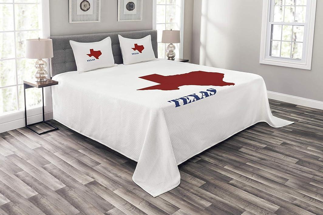 集まる石灰岩不安Lunarable Texas ベッドカバー 白地に赤色地図 レトロな文字のキャラクター アメリカ装飾 キルティングカバーセット 枕カバー付き ルビーネイビーブルーホワイト クイーン bed_53039_queen