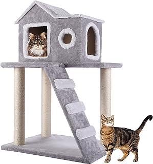CO-Z Árbol para Gatos Rascador para Gatos Torre Condominio de Algodón con Escalera Casa