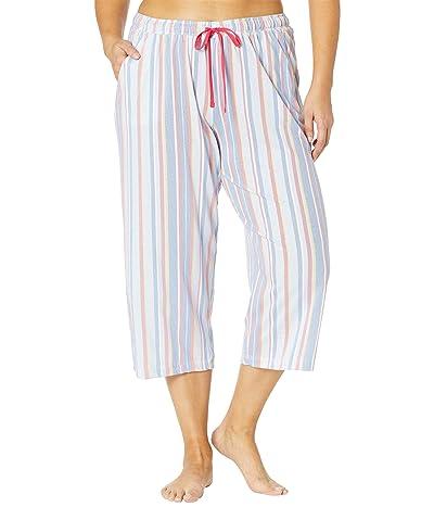 Karen Neuburger Plus Size Sunday In Sorrento Capris Pants (Cornflower Blue Picnic Stripe) Women