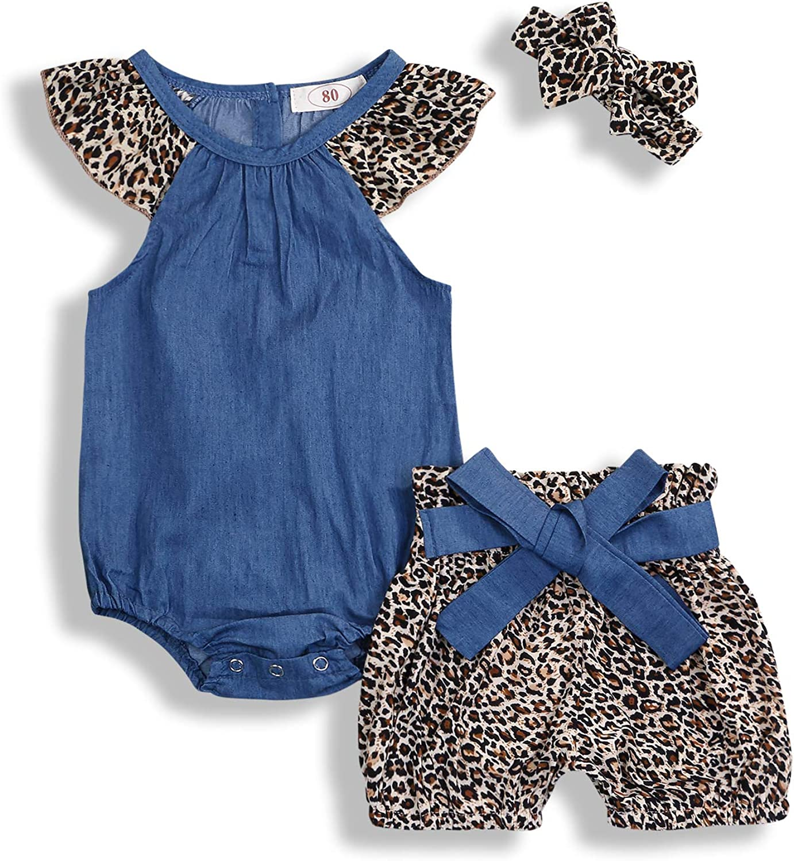 KCSLLCA Baby Girls Shorts Set Denim Fort Worth Mall + Leopard Time sale Ruffle Sleeve Top
