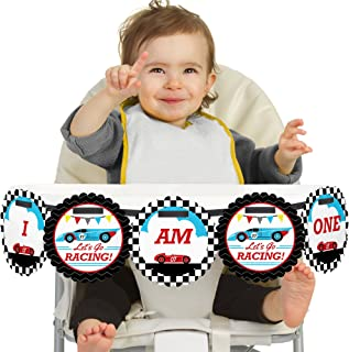 Big Dot of Happiness Let's Go Racing - Racecar 1rst Birthday Highchair Decor - I Am One - First Birthday High Chair Banner