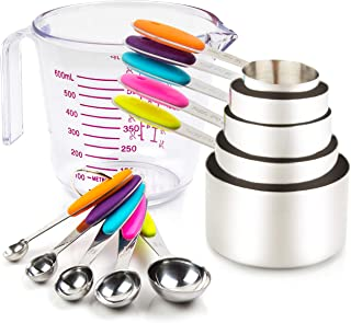Measuring Cups and Spoons Set 11 Piece. Includes 10 Stainless Steel Measuring Spoons and Cups Set and 1 Plastic Measuring ...