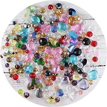 【Felice】クリスタルガラスビーズ 詰め合わせパック 300g 訳あり品 穴あきビーズ 4mm‐25mm ガラスビーズ