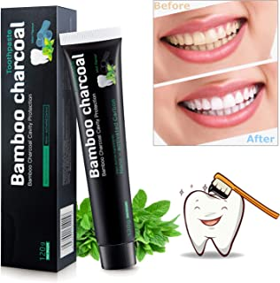 ISUDA Charcoal Toothpaste Best Natural Activated Charcoal Teeth Whitening Toothpaste - Eliminates Bad Breath, Improve Oral Hygiene - Teeth Charcoal Whitner, Fluoride Free (Spearmint)
