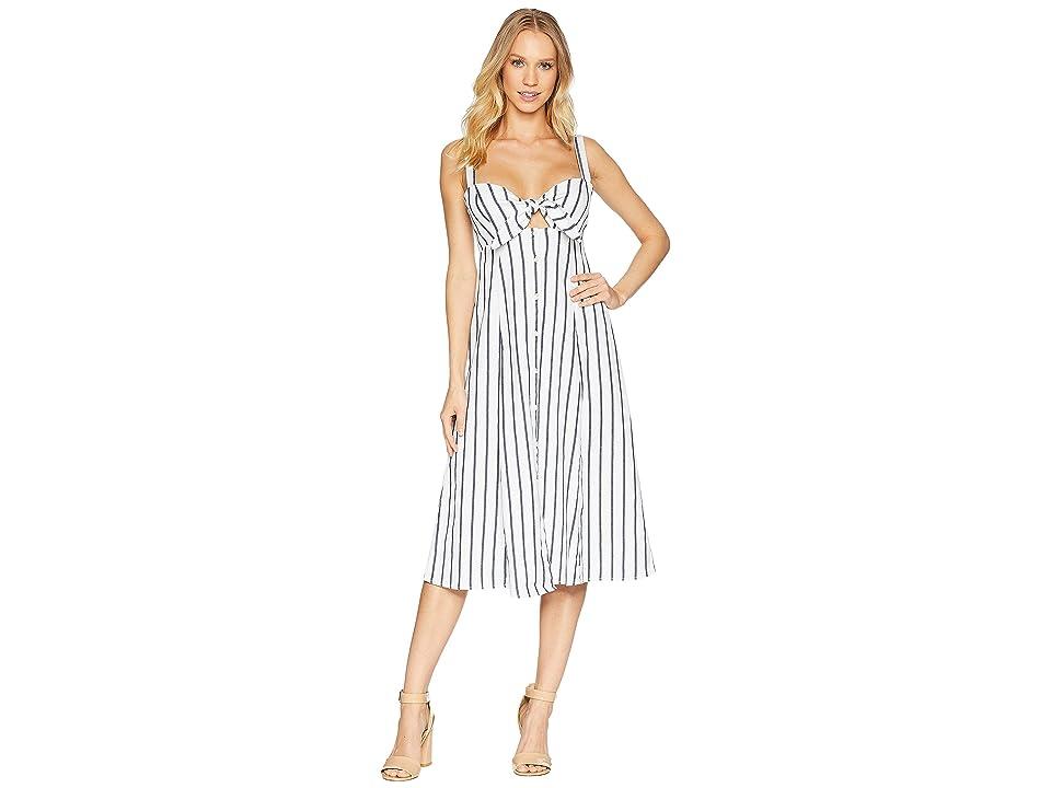 Splendid Tie Front Midi Dress (Off-White) Women
