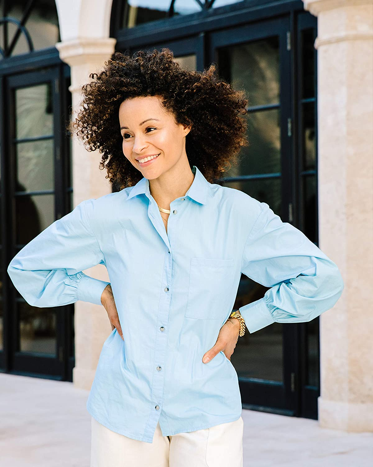 The Drop Women's Airy Blue Button-Down Voluminous Sleeve Shirt by @scoutthecity